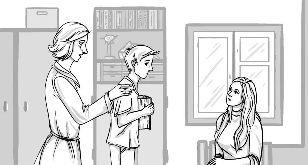 Подросток входит на консультацию по профориентации